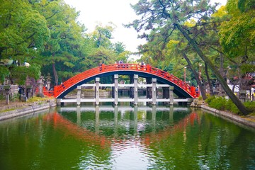 Sumiyoshi Taisha in Osaka, Japan. Osaka is one of the important cities in Japan for cultures and business markets.