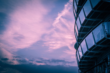 Modern architecture and sunset sky, London, UK