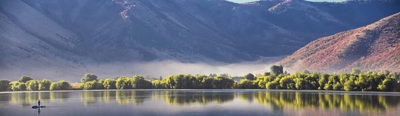 Mantua Reservoir landscape views. Mantua is a small town on the eastern edge Box Elder County, Historically known as Box Elder Valley, Copenhagen, Flaxville, Geneva, Hunsaker Valley in Utah, United St