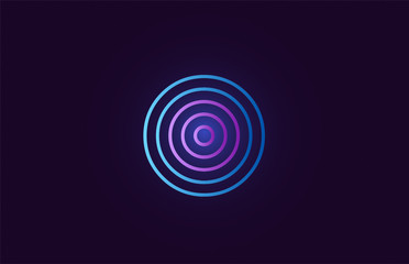 blue pink o gradient alphabet letter logo icon design