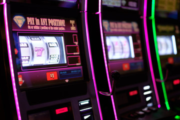 Close up of gaming slot machines in casino