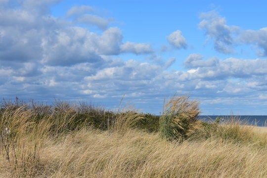 Cool, clear, autumn day filled with beautiful clouds at the seashore at Long Branch, NJ -4