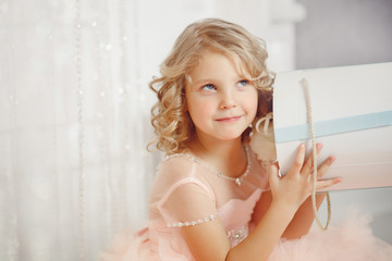 girl child in beautiful Christmas decorated