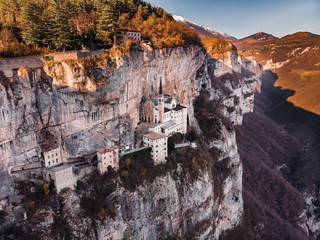 View of Madonna della Corona Sanctuary, Italy