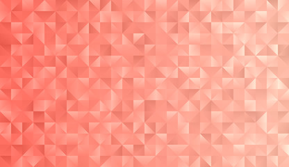 Coral Pink Geometric Triangle Pattern Vector Background. Rose Gold Shimmering Metallic Gradient Faceted Low Poly Print. 2019 Color of the Year.