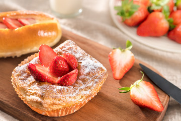 Healthy Nutritional Breakfast - Strawberry and Strawberry Butter Bread
