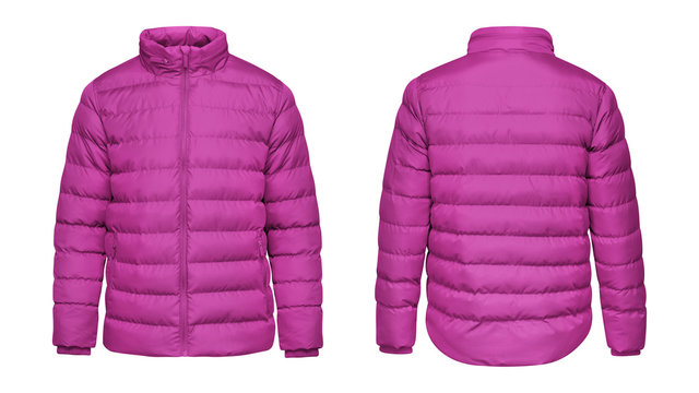 Blank template pink down jacket with zipped, front and back view isolated on white background. Mockup winter sport jacket for your design