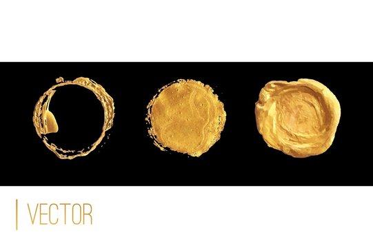 Golden circle frame and wax seal vector set