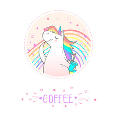 Custom vertical slats with your photo Vector sticker or icon with hand drawn cute unicorn text - COFFEE  on withe background.