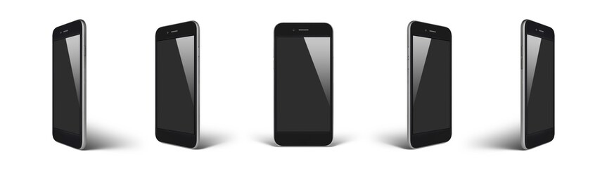 Perspective concept of empty screen smartphone isolated