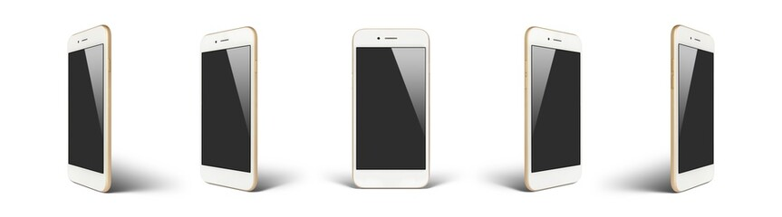 Perspective concept of white and gold empty screen smartphone isolated on white background with shadow