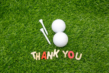 Golf Thank you on green