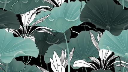 Botanical seamless pattern, lotus leaves, plants and vines on black background