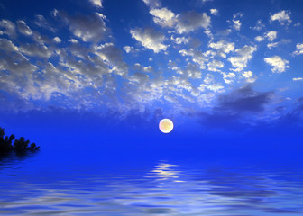 sea surface and night sky with full moon