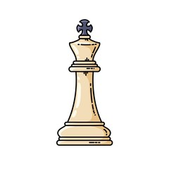 Chess white king vector flat isolated icon