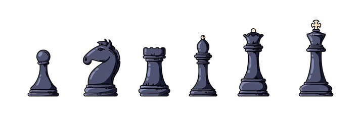 Black chess pieces in a row illustration