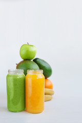 Vegetarian raw food concept smoothies juices fasting for health and weight loss