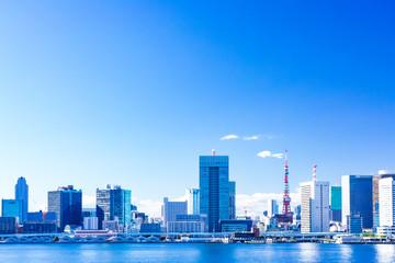 (東京都ー都市風景)晴海ふ頭から望む竹芝側風景3