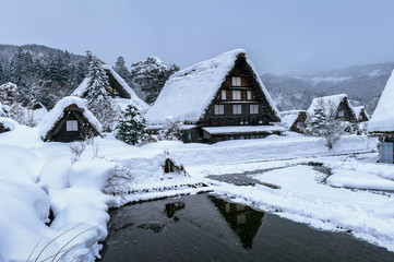 Wall Mural - Shirakawago village in winter, UNESCO world heritage sites, Japan.