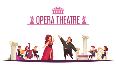 Theater Orchestra Performance Cartoon