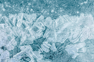 Structure of ice block for textured arctic concept backdrop, macro view