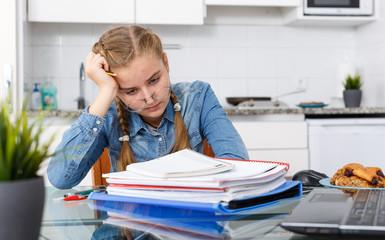 Tired of learning teenage schoolgirl