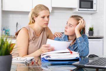 Mother calming her daughter