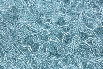 Crystal ice patterns for texture background. Cold winter texture, macro view