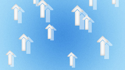 Arrows in the blue background. Illustration.