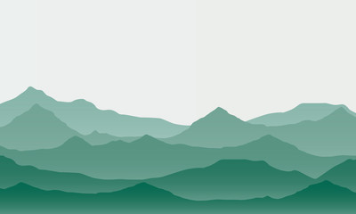 Realistic illustration of mountain landscape with fog under green sky, vector