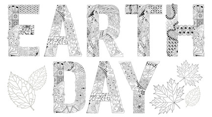 Words EARTH DAY for coloring. Vector decorative zentangle object