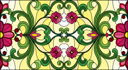 Illustration in stained glass style with abstract  swirls, pink flowers and leaves  on a yellow  background,horizontal orientation