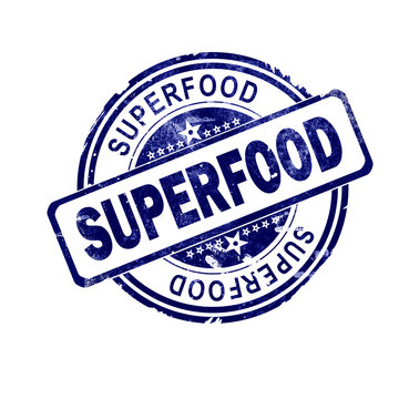 Superfood word with blue round stamp