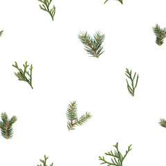 Seamless Pattern With Green Twigs