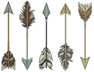 Cartoon style illustration vector set of different target arrows decorated with natural bird feathers