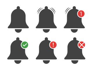Set of Bell Notification Vector Illustrations