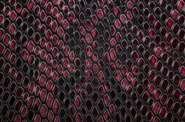 Wall Mural - Snake skin background. Red color.
