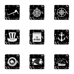 Pioneer icons set. Grunge illustration of 9 pioneer vector icons for web
