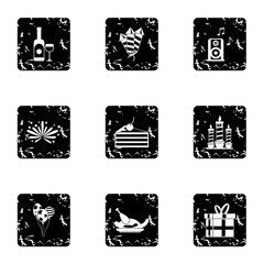 Birthday icons set. Grunge illustration of 9 birthday vector icons for web