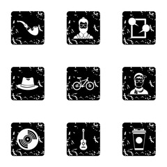 Subculture hipsters icons set. Grunge illustration of 9 subculture hipsters vector icons for web