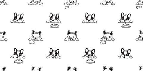 dog seamless pattern vector french bulldog bone food bowl scarf isolated repeat wallpaper tile background illustration doodle