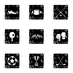 Sports equipment icons set. Grunge illustration of 9 sports equipment vector icons for web