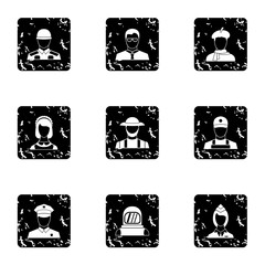 Workers icons set. Grunge illustration of 9 workers vector icons for web