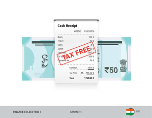 Receipt with 50 Indian Rupee Banknote. Flat style sales printed shopping paper bill with red tax free stamp. Shopping and sales concept.