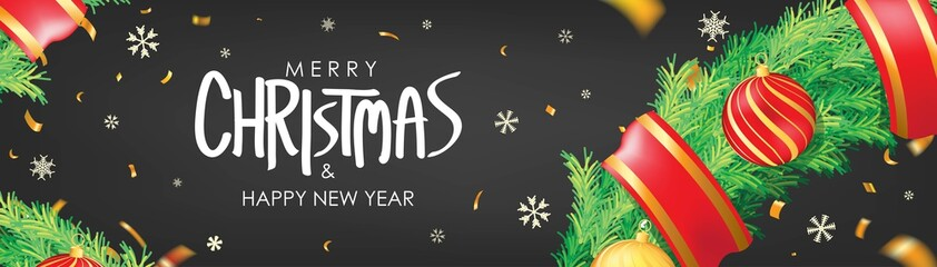 Christmas banner. Black Christmas background with christmas balls,  snowflakes and gold confetti. Horizontal christmas poster, greeting cards, headers, website