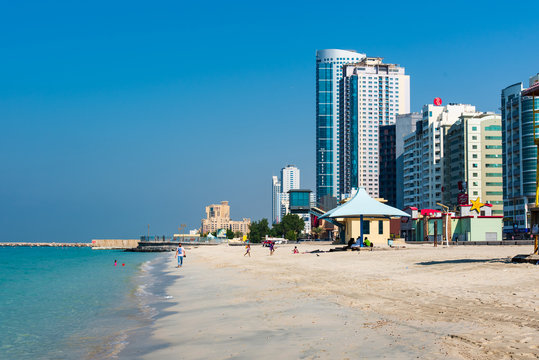 Ajman Corniche Beach beautiful coast in the city downtown area