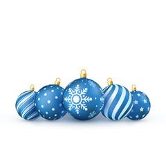Blue Christmas balls Set. Holiday Decorative New Year tree toys. Vector illustration isolated on white background