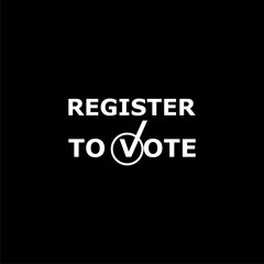 Register to vote icon or logo on dark background