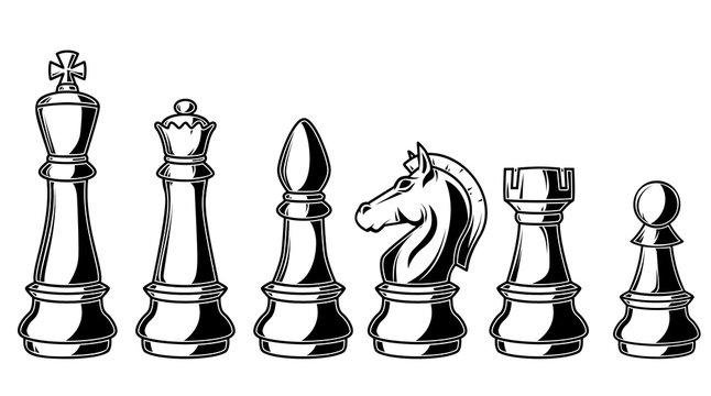 Illustration of chess figures on white background. Design elements for logo, label, sign, poster, card, banner.