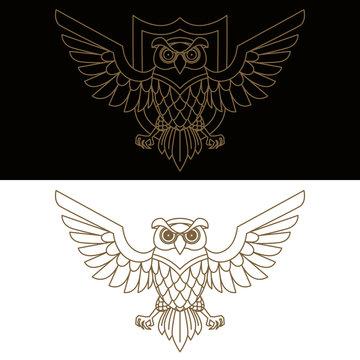 Emblem template with owl in golden style. Design elements for logo, label, sign, menu.